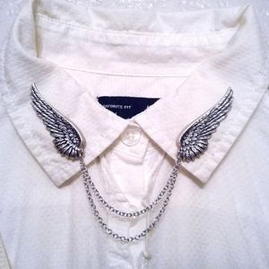 Silver Angel Wing Collar Chain Pins Sweater Clips